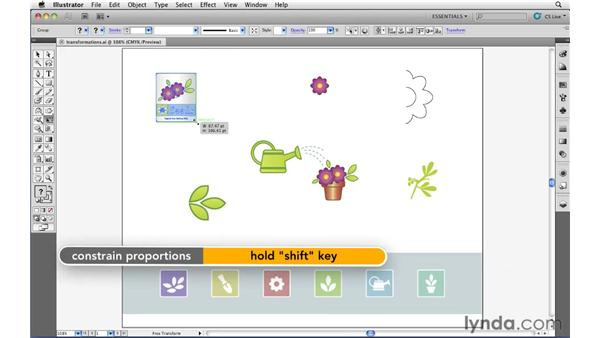 Using the Free Transform tool: Illustrator CS5 Essential Training