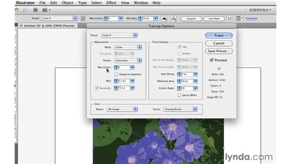 Making Live Trace adjustments: Illustrator CS5 Essential Training