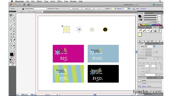 Managing repeating artwork with symbols: Illustrator CS5 Essential Training