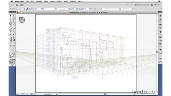 Drawing artwork in perspective: Illustrator CS5 Essential Training