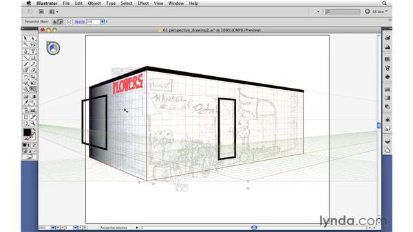Moving flat art onto the perspective grid: Illustrator CS5 Essential Training