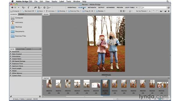 A tour of the different workspaces in Adobe Bridge: Photoshop CS5 Essential Training