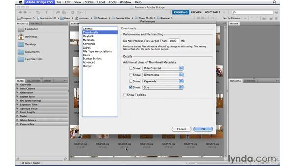 Customizing how thumbnails are displayed: Photoshop CS5 Essential Training