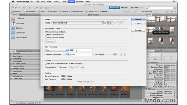 Changing obscure camera file names with the Batch Rename command: Photoshop CS5 Essential Training