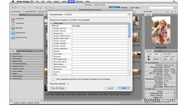 Adding basic metadata to every image with metadata templates: Photoshop CS5 Essential Training