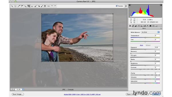 Improving composition with the non-destructive Crop tool: Photoshop CS5 Essential Training