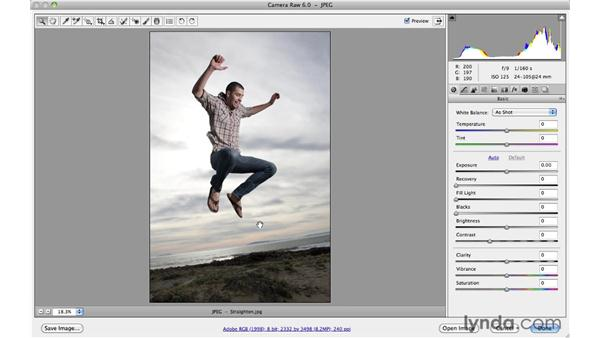 Correcting a rotated horizon line with the Straighten tool: Photoshop CS5 Essential Training