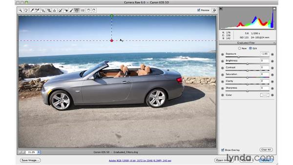Fixing blown-out skies with the Graduated Filter tool: Photoshop CS5 Essential Training