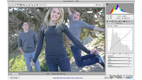 Editing images directly with the Targeted Adjustments tool: Photoshop CS5 Essential Training
