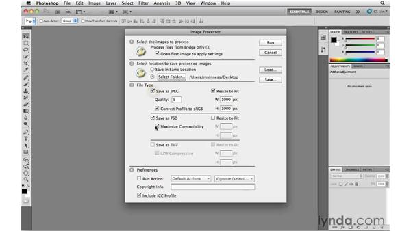 Using Image Processor to batch process multiple files: Photoshop CS5 Essential Training