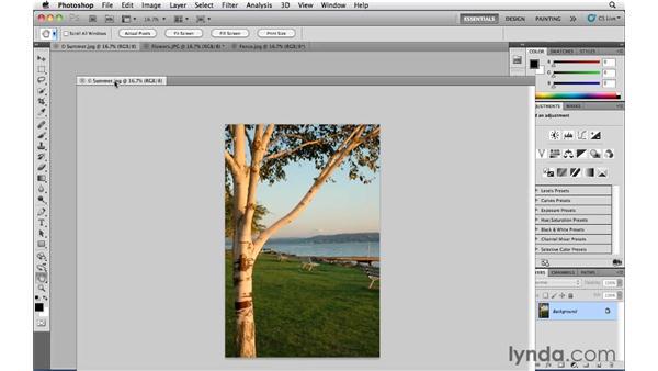 Tabbed documents: Photoshop CS5 Essential Training