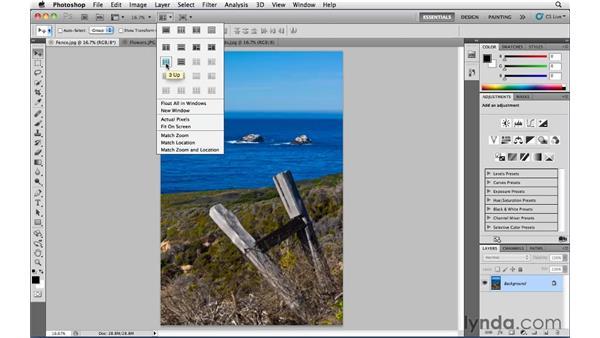 The Arrange Documents widget: Photoshop CS5 Essential Training