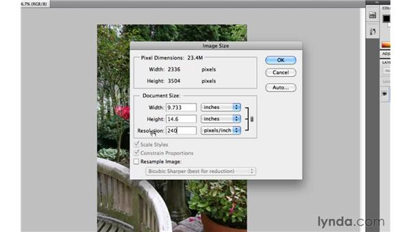 How big a print can you make with your image?: Photoshop CS5 Essential Training