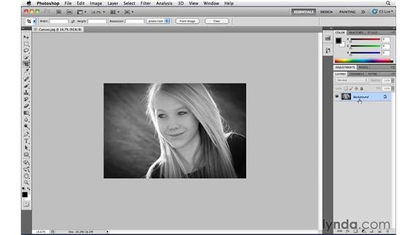 Making the canvas bigger with the Crop tool: Photoshop CS5 Essential Training