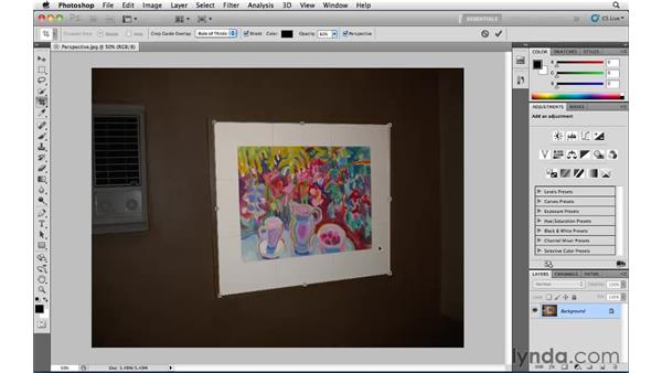 Correcting perspective with the Crop tool: Photoshop CS5 Essential Training