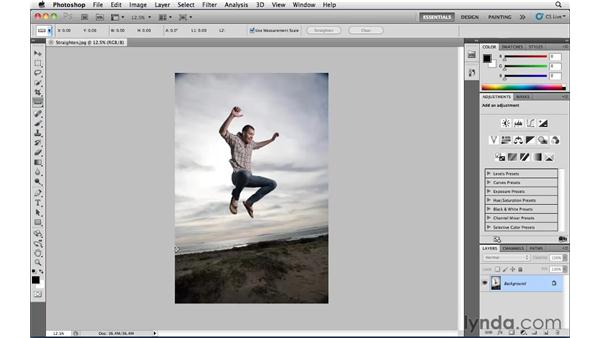 Straightening a crooked image: Photoshop CS5 Essential Training