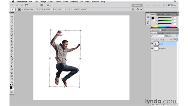 Scaling, skewing, and rotating with Free Transform: Photoshop CS5 Essential Training
