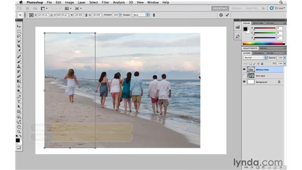 Preserving the important elements with Content-Aware Scaling: Photoshop CS5 Essential Training