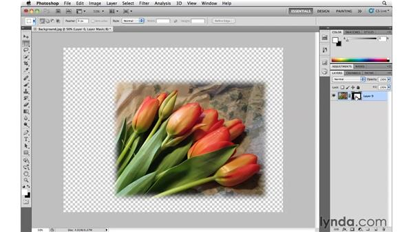 Using a layer mask instead of deleting pixels: Photoshop CS5 Essential Training