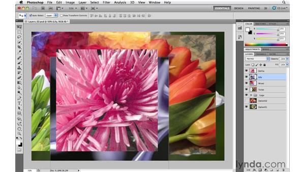 Selecting layers without using the Layers panel: Photoshop CS5 Essential Training
