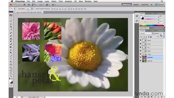 Changing the opacity of layers: Photoshop CS5 Essential Training