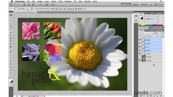 Organizing layers into groups: Photoshop CS5 Essential Training