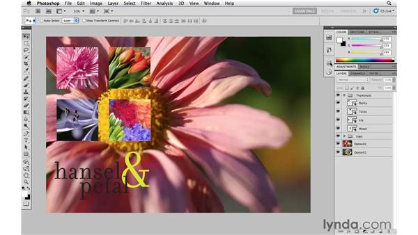 Saving variations with layer comps: Photoshop CS5 Essential Training