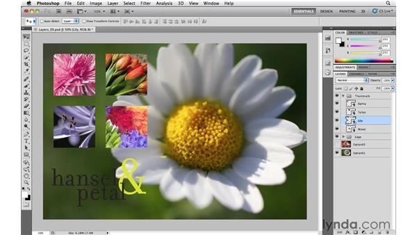 When to merge and rasterize layers: Photoshop CS5 Essential Training