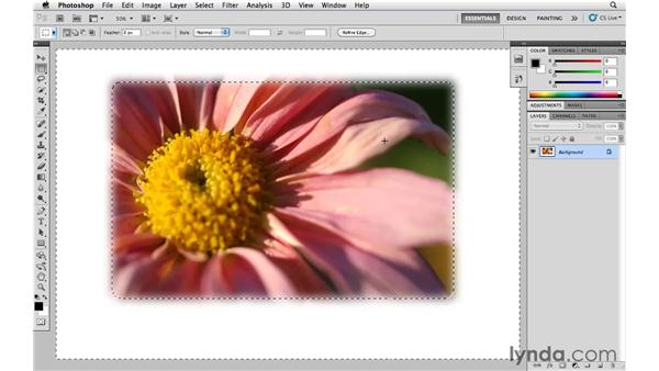 Converting a selection into a layer mask: Photoshop CS5 Essential Training