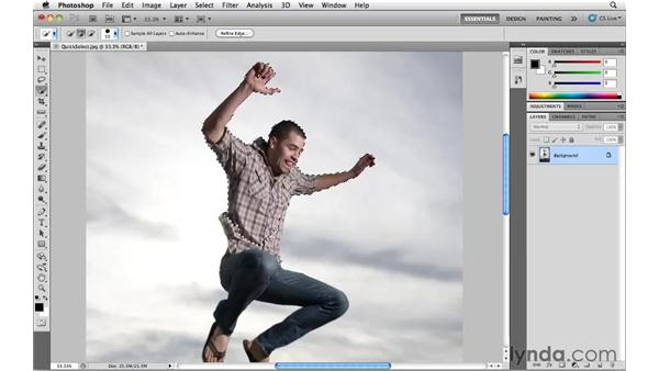 Using the Quick Selection tool: Photoshop CS5 Essential Training