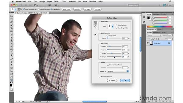 Improving a selection with Refine Edge: Photoshop CS5 Essential Training
