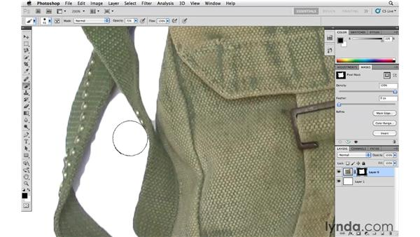Touching up a layer mask with the Brush tool: Photoshop CS5 Essential Training