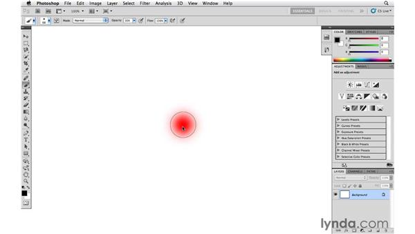 Changing the opacity, size, and hardness of the painting tools: Photoshop CS5 Essential Training