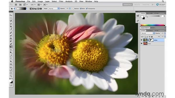 Blending images with a gradient layer mask: Photoshop CS5 Essential Training