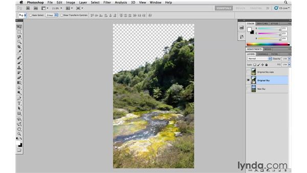 Replacing the sky in an image: Photoshop CS5 Essential Training