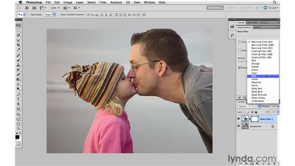 Changing the color temperature with Photo Filter: Photoshop CS5 Essential Training