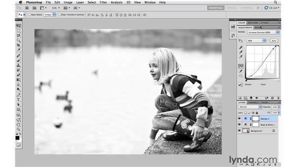 Converting color to black and white: Photoshop CS5 Essential Training