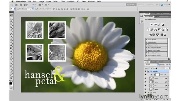 Controlling which layers are affected by an Adjustment Layer: Photoshop CS5 Essential Training
