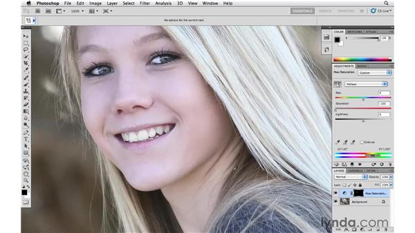 Making teeth bright and white: Photoshop CS5 Essential Training
