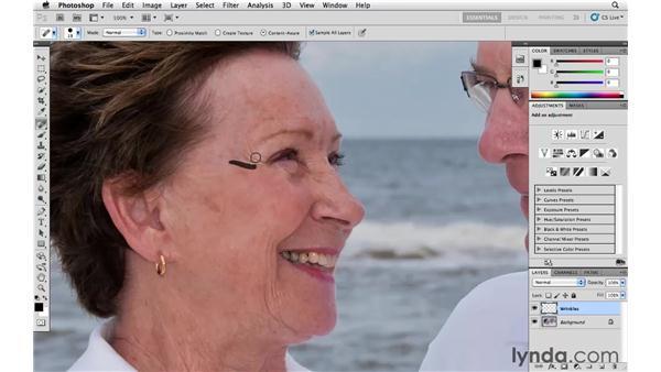 De-emphasizing wrinkles: Photoshop CS5 Essential Training
