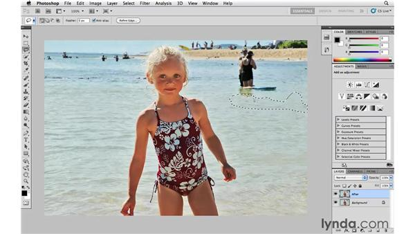 Removing unwanted details with Content Aware Fill: Photoshop CS5 Essential Training