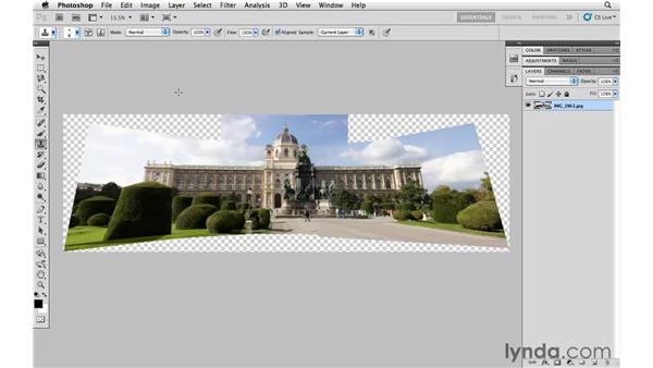 Creating panoramas with Photomerge and Auto-Blend: Photoshop CS5 Essential Training