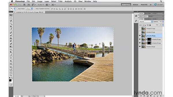 Combining multiple frames of an action sequence: Photoshop CS5 Essential Training