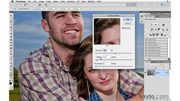 Sharpening an image with Unsharp Mask: Photoshop CS5 Essential Training