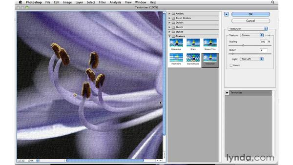 Giving an image more texture with the Texturizer: Photoshop CS5 Essential Training
