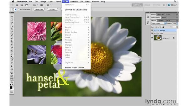 Applying a filter to multiple layers: Photoshop CS5 Essential Training