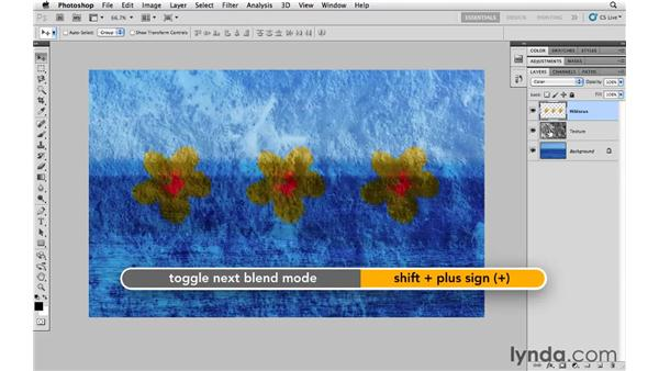 Cycling through the blending modes: Photoshop CS5 Essential Training