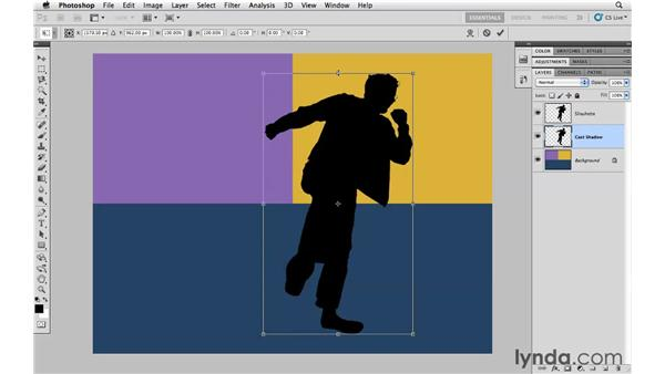 Making a cast shadow more realistic with Multiply: Photoshop CS5 Essential Training
