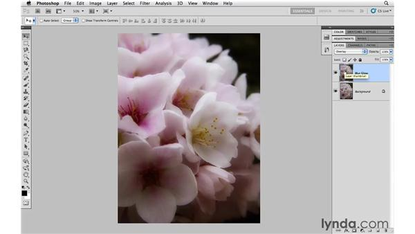 Creating a diffused contrast glow effect with Overlay: Photoshop CS5 Essential Training