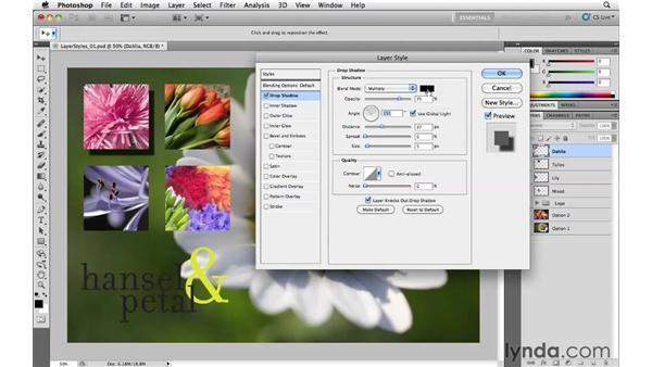 Adding a drop shadow effect: Photoshop CS5 Essential Training
